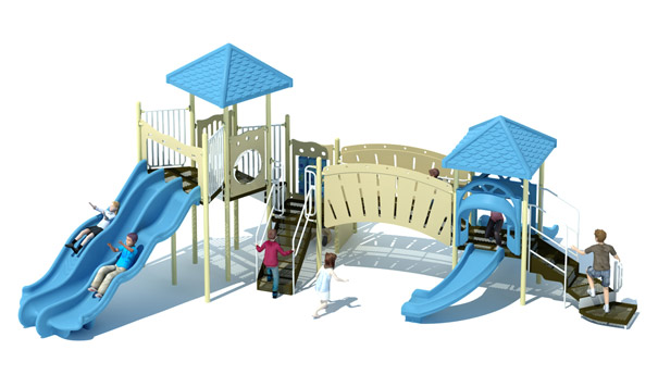 Caterpillar Bridge Commercial Playground Set