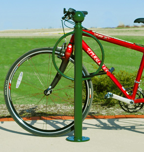 Model BOLCL-2-SF-P | Classic Bollard Bike Rack with Ball Post Cap (Red)