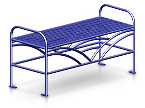 Model BRKFB48 | 4' Breckenridge Series Backless Steel Bench (Post Office Blue II)