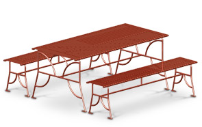 Model BRKREC | Breckenridge Series Steel Table with Bench Seats
