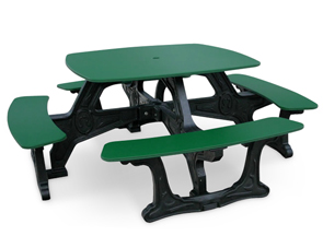 Model BST-01 | Bistro Plastic Table with Recycled Plastic Frame (Green/Black)