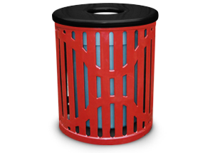 Model C22TR | 22 Gallon Ribbed Steel Trash Receptacle with 8 Inch Opening Flat Top Lid (Red/Black)