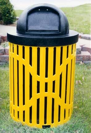 Model C32TR | Thermoplastic Coated Trash Receptacle w/R32DC Dome Top Cover (Yellow/Black)