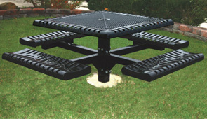 "Model C46-I | 46"" Square Thermoplastic Table, Expanded, Ribbed & Rolled, Pedestal Frame (Black)"