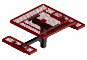 Model CA362SNB-IP | Thermoplastic Coated Square Café Style Tables (Red/Black)