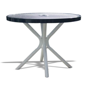 "Model CA42R-P | 42"" Expanded Steel Round Café Tables (Black/White)"