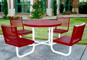 Model CA42RWB-P | Thermoplastic Café Table with Seat Backs (Red/White)