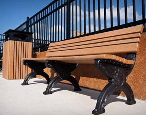 6 Foot Cambridge Recycled Plastic Memorial Park Bench (Cedar/Black)