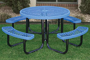 Model CAL46R-P | Round Picnic Table | Leisure Series (Lt. Blue/Black)