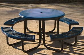 Model CA46R-P | Thermoplastic Coated Round Picnic Tables (Blue)