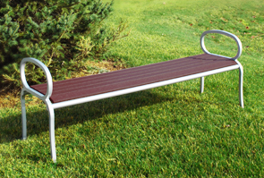 Model CB5NBE | 5' Courtyard Backless Bench (IPE Wood Slats/Platinum Frame)