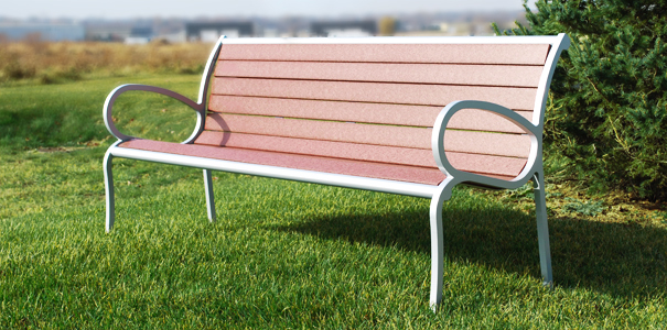 Model CB5WBE-R | 5' Courtyard Bench with Back (Cedar/Platinum)