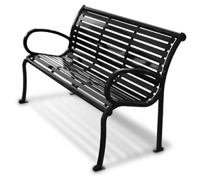 Model CB5WBE-S | 6' Courtyard Steel Slat Park Bench (Black)