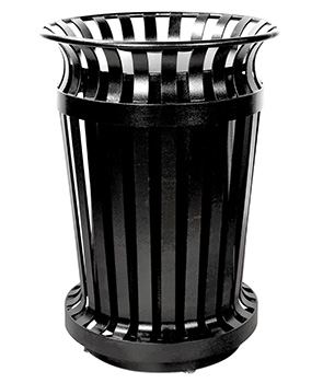 Commercial Steel Curved Flare Top Trash Receptacle