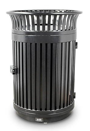 Commercial Steel Flare Top Trash Receptacle with Door