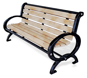 Model CC6 | Park Bench with Steel Rods | Rodman Classique Style (Cedar/Black)