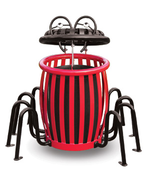 Model CCS34 | Creature Can Spider Trash Receptacle (Red/Black)