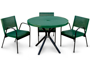 Model CH2R-P | Round Table | Stacking Chair (Green)