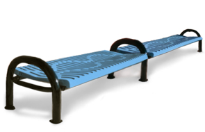 Model CM6ANB-P | Modern Series Ribbed Steel Benches | Backless (Lt. Blue/Black)