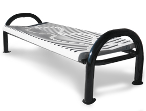 Model CM6NB-P | Modern Series Ribbed Steel Benches | Backless (White/Black)