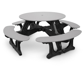 Model CNT-01 | Cantina Plastic Table with Recycled Plastic Frame (Gray/Black)