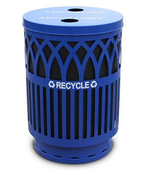 Model COVR40P-FTR-BL | Covington Collection Recycling Receptacle | 40 Gallon (Blue)