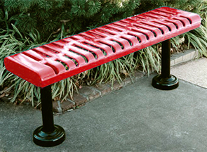 Model CR4NB-S | Classic Rolled Style Thermoplastic Park Bench (Teal/Black)