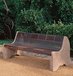 Model CRNCBEN6 | Thermoplastic & Aggregate Park Bench (Brown Narrow Gap Metal/River Rock Aggregate)
