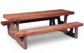 Model CRWT7 | Concrete Frame with Redwood Top and Seats Picnic Table