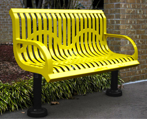 Model CT4WB-S | Thermoplastic Coated Steel Ribbed Pattern Park Bench (Yellow/Black)