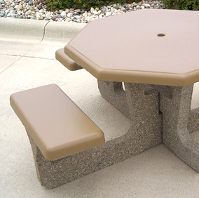 Octagon Concrete Outdoor Picnic Table with Universal Access