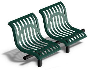 Model CU2WBS-I | Thermoplastic Coated Downtown Style Straight Benches (Green/Black)