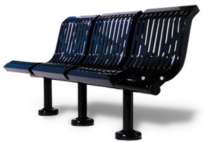 Model CU3WBS-S | Thermoplastic Coated Downtown Style Straight Benches (Black)