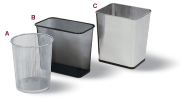 Mesh and Stainless Steel Wastebasket Collection