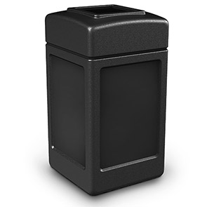 Model DC-732101 | Square Waste Container | Flat Top Lid (Black)
