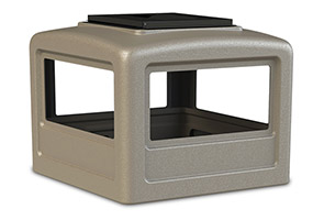 Model DC-732302 | Square Waste Container Dome Lids with Ashtray (Sand Granite Beige)