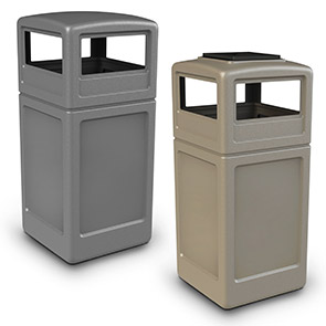 Model DC-73290399 | Square Waste Container w/Dome Lid (Gray) | Model DC-73300299 | Square Waste Container w/Ashtray Dome Lid (Sand Garnite Beige)