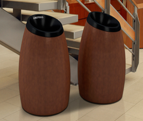 Model DC-75624199 | Cypress Recycler Receptacle (Walnut Finish) & Model DC-756141 | Seed Waste Receptacle (Walnut Finish)