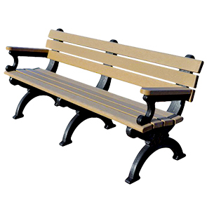 Model DF6WBA-P | Recycled Plastic 6' Silhouette Bench with Arms
