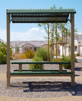 Rectangular Picnic Table with Attached Steel Shade Canopy