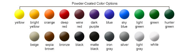 Standard Powder-Coated Color Options