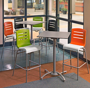 Domino Stacking Barstools and Bar Height HPL Table Sets
