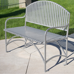 Model EB48 | English Series Powder-Coated Ribbed Steel Bench | 4' Length (Bay Fog)