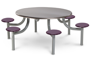 Model EMX5404-6SPTBT | 54&quotl Round Lunchroom Table (Stainless Steel/Mulberry)