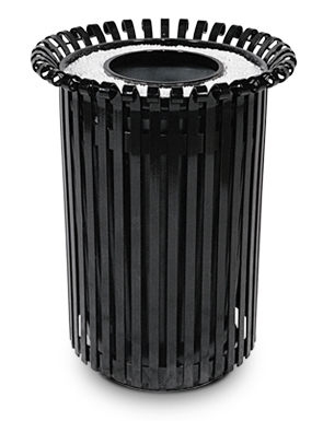Model ERSTA32 | Ribbed Steel Powder-Coated Trash Recpetacle (Black)