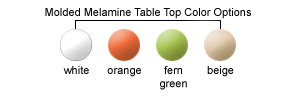 Molded Melamine Table Top Color Options