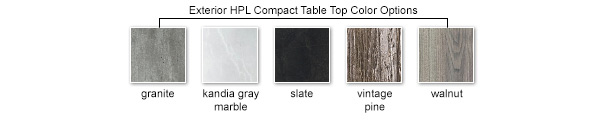 Exterior HPL Compact Table Top Color Options