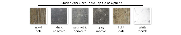 Exterior VanGuard Table Top Color Options