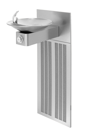 Model H1001.8 | Wall Mounted ADA Refrigerated Water Drinking Fountain with Satin Stainless Steel Bowl on Square Arm with Grille and Back Panel