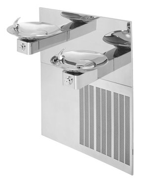 Model H1001.8HPS | Hi-Lo ADA Drinking Fountain with Grille and Back Panel